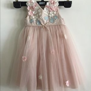 Dainty monsoon pink floral dress wedding 12-18m